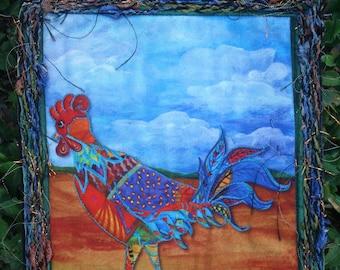 Rooster Wallhanging Fiber Art