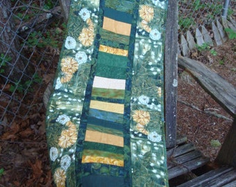 Green and Gold Floral Dandelion Quilted Table Runner Quiltsy Handmade