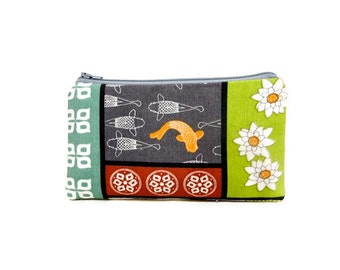 Small Zipper Pouch, Cute Pouch, Fabric Pouch, Pouch, Gift for her, Gift under 20, Small Wallet, Small Card Pouch, Organic Fabric Koi Fish