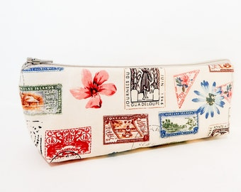 Pencil Case, Zipper Pouch, Fabric Pouch, Medium Pouch, Pouch, Cosmetic Bag, Toiletry Bag, Fabric Zipper Case, Gift for her, Carte Postale