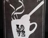 I Love Coffee Custom Kitchen Coffee House Wood Artblock Shelf Sitter Wall plaque