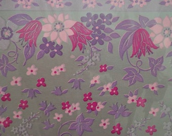 Vintage Gift Wrap 1970s All Occasion Purple & Pink Posies Floral Print-Tie Tie Wrapping Paper 2 Sheets NIP