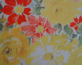 Vintage 1950s All Occasion Gift Wrap Floral Print Wrapping Paper- Yellow & Apricot Roses 2 Sheets