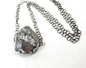 50% OFF SALE Quartz Nugget Pendant Silver Titanium Quartz Wire Wrap Necklace Raw Mineral Minimalist