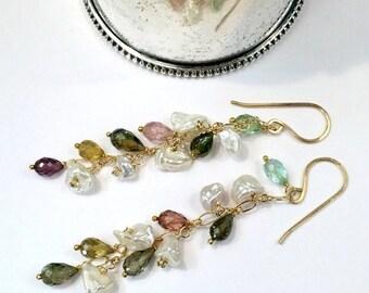 SUMMER SALE Tourmaline Earring Gold Fill Chain Keishi Pearl Long Dangle Multicolor Tourmaline October Birthstone Dainty Minimalist Jewelry