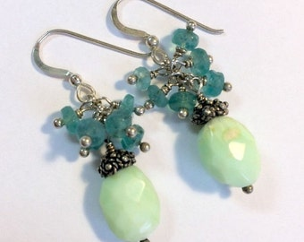 55% OFF SALE Aqua Green Cluster Earring Chrysoprase Aqua Apatite Gemstone Wire Wrapped Cluster Rustic Nugget Earrings, Sterling Silver