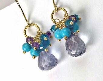 VALENTINES SALE Blue Gemstone Earrings Denim Blue Quartz Earrings Amethyst Cluster Earrings Gold Wire Wrapped Blue Turquoise Beaded Earrings