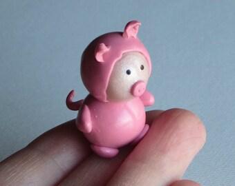 Pig miniature polymer doll