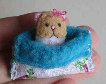 Hamster miniature felt with snuggle bag play set