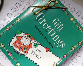Christmas in July - Christmas Gift Tag Rubber Stamps - New in Box