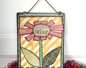 Dreams flower metal wall hanging mixed media original collage art
