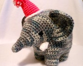 Crochet Elephant with Party Hat, Stuffed Animal, Wild Animal, Tusks, Stuffed Elephant, Mammal