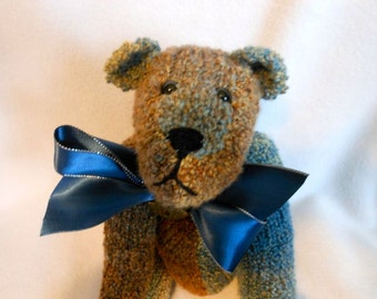 Teddy Bear Hand Knitted in Blue, Tan and Brown Bumpy Yarn, Stuffed Bear, Stuffed Animal, OOAK, Teddy