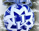 HANDMADE QUILTED Ornament /blue and white fabric /great gift idea/Blue and White Handmade Quilted Ornaments (Ready to Ship)