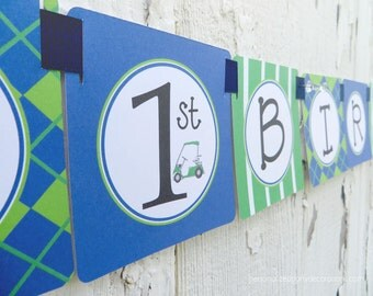 SALE-Golf Birthday Banner, Happy Birthday Banner, Boy Party Decorations, Golf Decorations, Ships QUICK