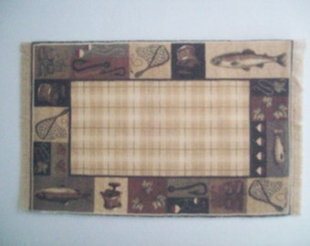 Miniature Printed on fabric Area Rug, olive/beige/brown with FishingTheme, for the dollhouse