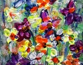 Abstract Floral Oil painting Impasto Art on Canvas Original Painting Black Friday Cyber Monday SALE
