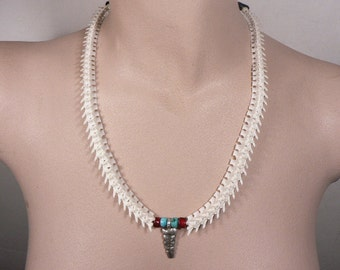 Rattlesnake Vertebra  Necklace with Sterling Silver Rattle/ Beads made glass and Turquoise