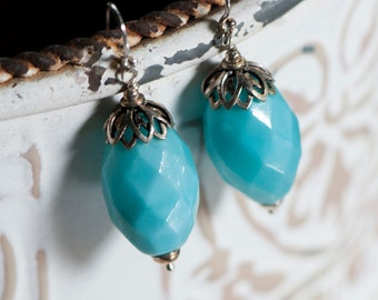Vintage Glass Earrings, Light Blue Vintage Beads, 1930s Japanese Beads with Sterling Silver