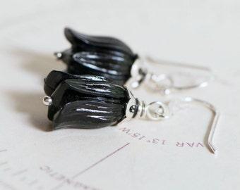 Vintage Flower Earrings, Black Lucite Tulip Bead Earrings, Sterling Silver