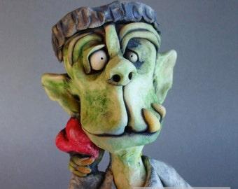 Frankenstein Monster with Heart Ceramic Wall Sculpture