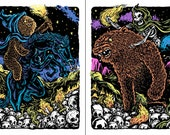 Skull Mountain Diptych - Two 16 x 20 Blacklight Prints