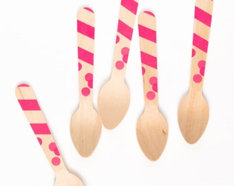 Pink dots & stripes -20 Wooden Ice Cream Spoons