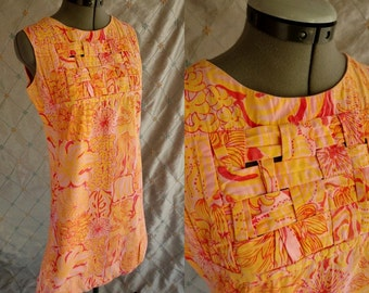 60s Dress  // Vintage 60's Yellow and Pink Print Summer Dress with Woven Bodice and Back Size M