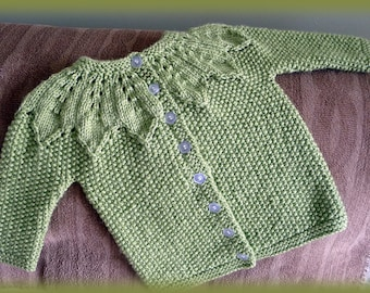 Hand Knit Sweater, cardigan for baby girl, green sweater, green baby girl jacket and hat
