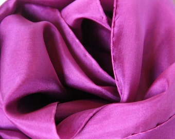 Purple Silk Scarf - Burgundy Silk - 4 Sizes Available - Great Gift - Low Shipping Costs