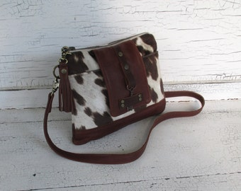 Small Brown Leather & Faux Cowhide Cross Body Purse, Shoulder Bag, Festival Bag