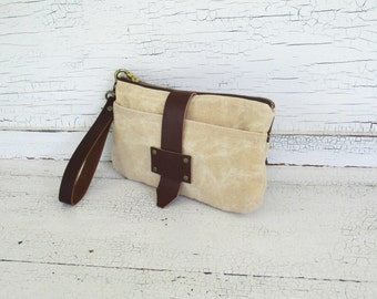 Cream Waxed Canvas & Leather Smartphone Wallet, iPhone 6 Plus, Wallet, Wristlet, Small Purse, Travel Organizer