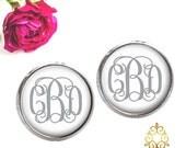 Monogram Earrings - White Silver Monogram Stud - Personalized Jewelry - Personalized Earrings - Monogram Jewelry -  Style 557