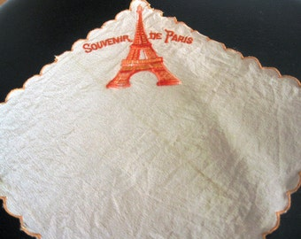 Vintage Paris Souvenir Hanky With Embroidered Eiffel Tower In One Corner, Small, Scalloped Edge
