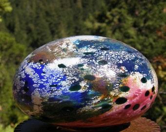 Flat Glassballoon, garden art, handblown