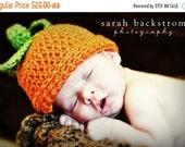 ON SALE Baby Pumpkin Crochet Beanie Hat, Baby Pumpkin Hat, Infant Pumpkin Hat, Baby Girl, Baby Boy, Beanie Hat, Newborn,  0-3 months, MADE T