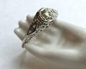 Art Deco 14K Diamond Ring White Gold Engagement Wedding Ring 1/3 Carat VVS2