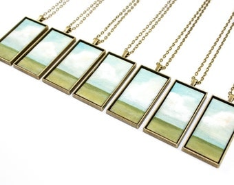 Painted Landscape Pendant - Blue Sky, Wide Open Prairie (Original Painting Section in Brass Rectangle Setting)