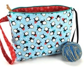 SALE - Large Knitting Crochet Project Bag Clutch - Winter Holiday - Chilly