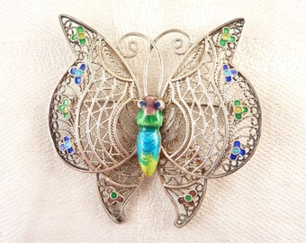 Vintage Filigree Silver Blue and Green Enamel Butterfly Brooch
