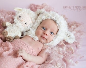 Newborn Lamb Set Bonnet and Teddy Photography Prop Made To Order Ships From Australia