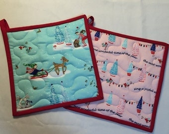 Insulbrite Quilted Potholder Set: Holiday trees,birds, elves, hostess gift, ready to ship, turquoise, pink and red