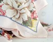 Vintage 1990s Ralph Lauren pink floral scarf / 100% silk / classic & feminine