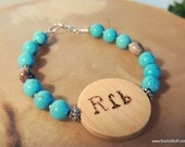 Cherokee Language Grandmother Bracelet, Turquoise Jewelry, Gift for Grandmother, Handcrafted Jewelry, Blue Corn Bead Jewelry