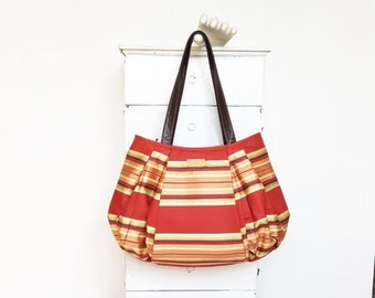On Sale Large Hobo RED SNAPPER = autumn lemon mint purple gold blue tangerine orange red stripes striped classic stylish vegan leather jennj