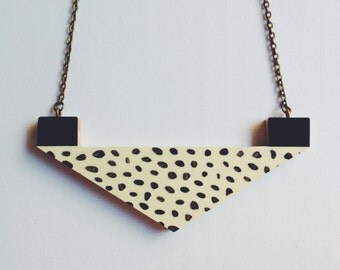 Triangle Necklace - Flecked Chevron