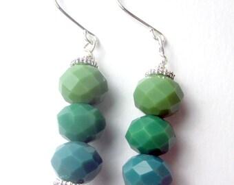 Triple green czech beaded dangle earrings, earth tones, dangle earrings, holiday earrings, green earrings, czech earrings