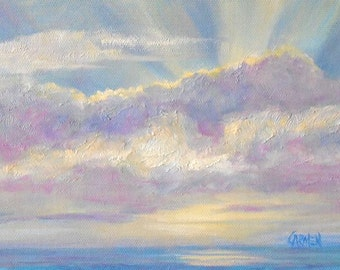 Pale Sunrise, 8x6 Original Oil Painting on Canvas Panel, Seascape and Clouds