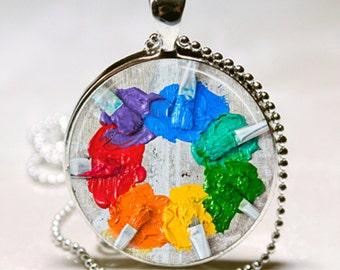 RAINBOW PAINT BRUSHES Charm Necklace Paint Splatter Artist Painter Gift art major art teacher gift Pendant
