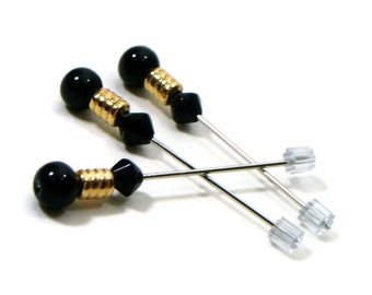 Counting Pins Marking Pins Cross Stitch Needlepoint Black Gold Stitch Counter DIY Crafts Wedding Corsage Pins